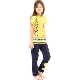 Roly Poly 3063 Tweety Lisanslı Kız Çocuk Pijama Takımı Sarı-lacivert 5 Yaş (110 Cm) Kız Bebek Pijaması