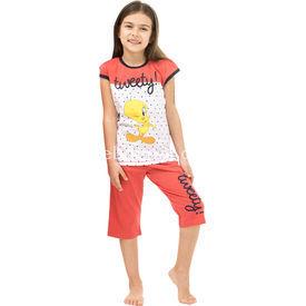 Roly Poly 3065 Tweety Lisanslı Kız Çocuk Pijama Takımı Narçiçeği 4 Yaş (104 Cm) Kız Bebek Pijaması