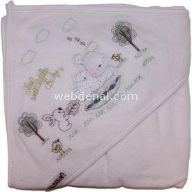 Bebitof 3127 Uyuyan Ayıcık Banyo Havlusu Yeşil Havlu & Bornoz