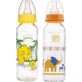 Bebedor %0 Bpa Desenli Cam Biberon 250 Ml Sarı Bebek Besleme