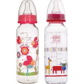 Bebedor %0 Bpa Desenli Cam Biberon 250 Ml Kırmızı Bebek Besleme