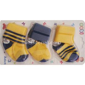 Sebi Bebe 319 3lü Bebek Çorabı Sarı-lacivert 0-3 Ay (56-62 Cm) Kız Bebek Çamaşırı