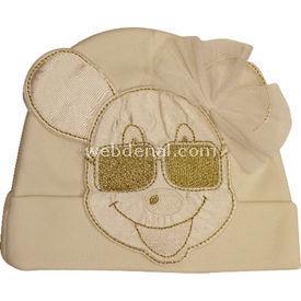 Kardeşler 3853 Bebek Şapkası Krem Şapka, Bere, Kulaklık