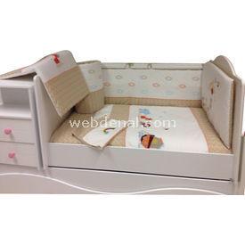 Baby Home 39001 Alt Açmalı Bebek Uyku Seti Balonlu Ayı 80x130 Safari Uyku Setleri