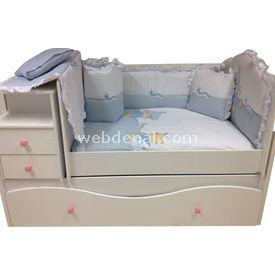 Baby Home 39001 Alt Açmalı Bebek Uyku Seti Külahlı Ayı Mavi-ayı Uyku Setleri