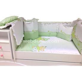 Baby Home 39001 Alt Açmalı  Külahlı Ayı Yeşil-ayı Bebek Uyku Seti