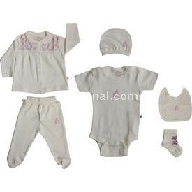 Aziz Bebe 5105 Hastane Çıkış Seti 6lı Lila 0 Ay (50-56 Cm) Kız Bebek Hastane Çıkışı