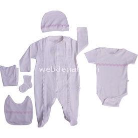 Aziz Bebe 5108 Hastane Çıkış Seti 6lı Ekru 0-3 Ay (56-62 Cm) Kız Bebek Hastane Çıkışı