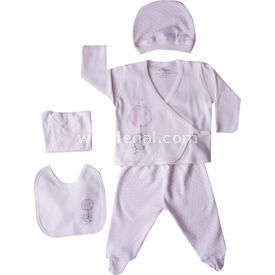 Aziz Bebe 5113 Hastane Çıkış Seti 5li Ekru-pembe 0 Ay (50-56 Cm) Erkek Bebek Hastane Çıkışı