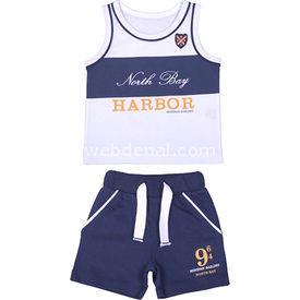 Bebepan 8068 Sailing Atlet Şort Takım Beyaz 3-6 Ay (62-68 Cm) Erkek Bebek Takım