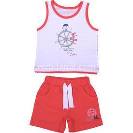 Bebepan 8087 Regatta Penye Atlet Şort Takım Kırmızı 6-9 Ay (68-74 Cm) Erkek Bebek Takım