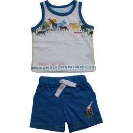Bebepan 8123 Zoo Atlet Şort Takım Saks 3-6 Ay (62-68 Cm) Erkek Bebek Takım