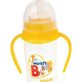 Bebedor 97362 Oval Geniş Ağız  Damaklı Emzik Orta Akış 250 Ml Sarı Biberon