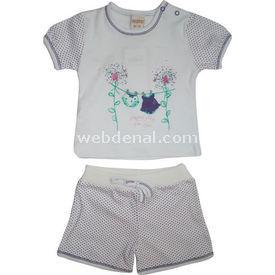 Mino 98014 Kız Bebek Şortlu Takım Beyaz-mor 6-9 Ay (68-74 Cm) Kız Bebek Takım