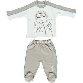 Bebetto F722 Mini Pijama Takımı Kahverengi 9-12 Ay (74-80 Cm) Erkek Bebek Pijaması