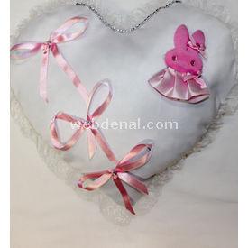 Handan Bebek Altın Takı Yastığı Beyaz Pembe-tavşanlı Yastık & Kılıfları