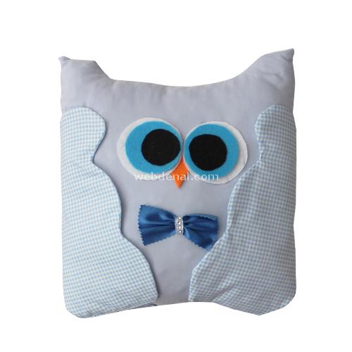 Handan Takı Yastığı Baykuş Kare Mavi Dekoratif Süs