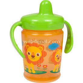 Bebedor 9508 Zoo Sert Uçlu Kulplu Alıştırma Bardağı Turuncu Bebek Besleme