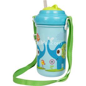 Bebedor 9507 Zoo Baskılı Pipetli Askılı  Mavi Alıştırma Bardağı
