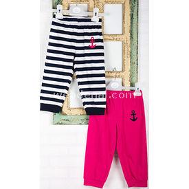 Wonder Kids Marine Yazlık Bebek Penye Pantolon 2li Pembe-siyah 0-3 Ay (56-62 Cm) Pantolon & Şort
