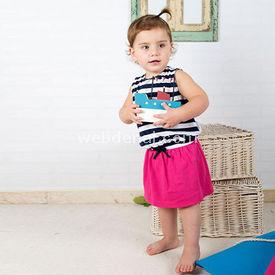 Wonder Kids Wk14s306 Marine Elbise Pembe 9-12 Ay (74-80 Cm) Kız Bebek Takım
