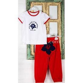 Wonder Kids Marine Bebek Yazlık 2li Takım Kırmızı 3-6 Ay (62-68 Cm) Kız Bebek Takım