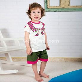 Wonder Kids Camp 2li Yazlık Kız Şortlu Takım 9-12 Ay (74-80 Cm) Kız Bebek Takım