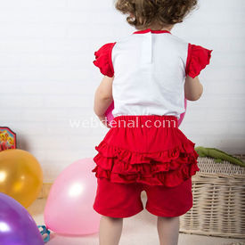 Wonder Kids Fırfırlı Bebek Takım 2li Carnaval Kırmızı 12-18 Ay (80-86 Cm) Kız Bebek Takım