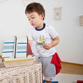 Wonder Kids Şortlu Marine 3lü Set Gri 3-6 Ay (62-68 Cm) Erkek Bebek Takım