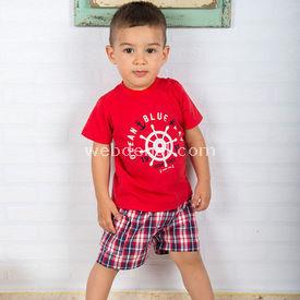 Wonder Kids Bebek Yazlık Takım 2li Marine Kırmızı 9-12 Ay (74-80 Cm) Erkek Bebek Takım