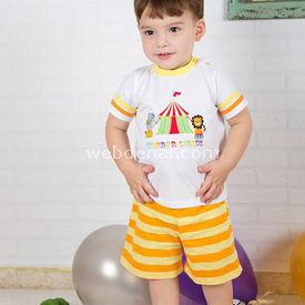 Wonder Kids Carnaval 2li Bebek Takım Çizgili 6-9 Ay (68-74 Cm) Erkek Bebek Takım