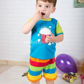 Wonder Kids Bebek Takım Carnaval 2 Li Set Mavi 6-9 Ay (68-74 Cm) Erkek Bebek Takım