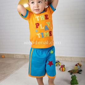 Wonder Kids Carnaval 2li Bebek Takımı Mavi-turuncu 9-12 Ay (74-80 Cm) Erkek Bebek Takım