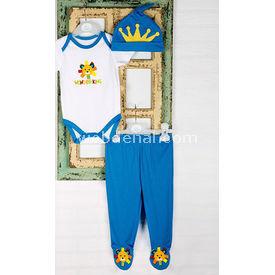 Wonder Kids Wk14s436 Carnaval 3 Lü Set Mavi 6-9 Ay (68-74 Cm) Erkek Bebek Takım