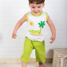 Wonder Kids Kolsuz Erkek Takım Natural Life 2li Yeşil 3-6 Ay (62-68 Cm) Erkek Bebek Takım
