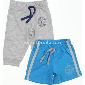 Wonder Kids Wk14s480 2 Pack Şort Pantolon Mavi-gri 12-18 Ay (80-86 Cm) Pantolon & Şort