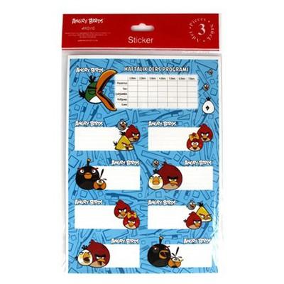 Keskin Color Angry Birds Ders Programı 3`lü Etiket Okul Etiketleri