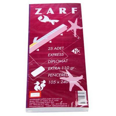 Yener Pencereli Diplomat Zarf Beyaz Zarf 25`li 105x240 Mm 110 Gr Zarflar