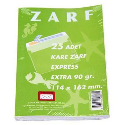 Yener Kare Zarf Beyaz 114x162mm 25`li 90gr Zarflar