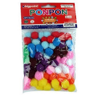 Bigpoint Ponpon 10 Renk 2 Cm 100`lü El İşi Malzemesi