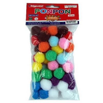 Bigpoint Ponpon 10 Renk 3 Cm 50`li Resim Malzemeleri
