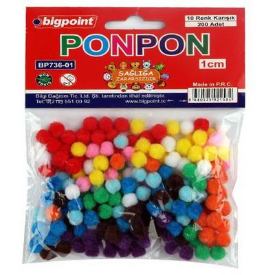 Bigpoint Ponpon 10 Renk 1cm 200`lü Resim Malzemeleri