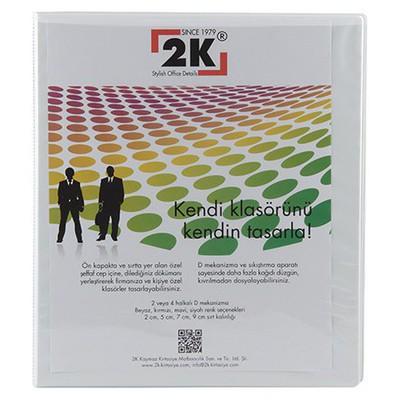 2K 2 Halkalı Klasör Pvc Cepli 3 cm Beyaz Dosya