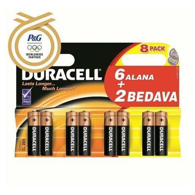 Duracell İnce Kalem 0 AAA Alkalin 6+2 Adet Pil / Şarj Cihazı