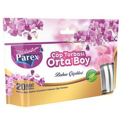 Parex Çöp Poşeti Premium Orta Boy 55x60 cm Bahar Kokulu 20 Adet Çöp Torbaları