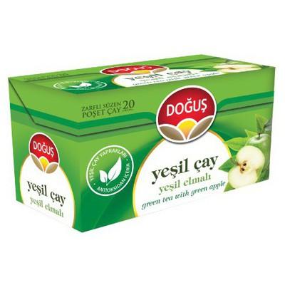 Doğuş Bardak Poşet Yeşil Çay Elma Aromalı 20 Adet Bitki Çayı