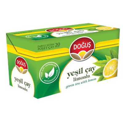 Doğuş Bardak Poşet Yeşil Çay Limon Aromalı 20 Adet Bitki Çayı