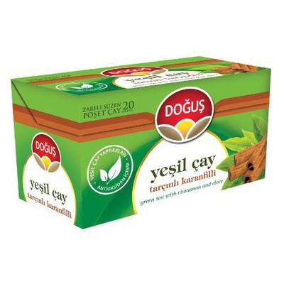 Doğuş Bardak Poşet Yeşil Çay Tarçın Karanfil Aromalı 20 Adet Bitki Çayı