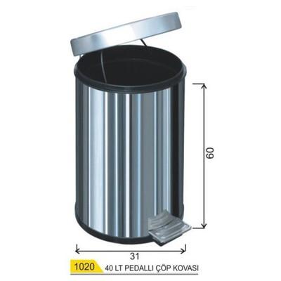 Arı Metal Çöp Kovası Pedallı 40 Lt Model A1020 Çöp Kovaları