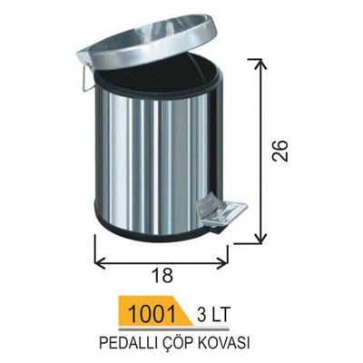 Arı Metal Çöp Kovası Pedallı 3 Lt Model A1001 Çöp Kovaları